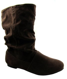 London rebel ladies brown fur lined slouch boots 1