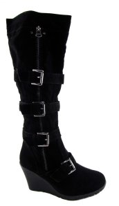 Odeon ladies black tall military wedge boots 1