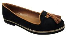 Timeless ladies black flat tassle loafer shoes 6
