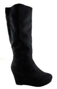 Timeless ladies black wedge heel tall boots 2