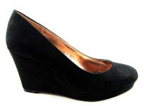Timeless ladies black wedge mid heel court shoes 1