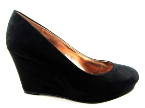 Timeless ladies black wedge mid heel court shoes 1