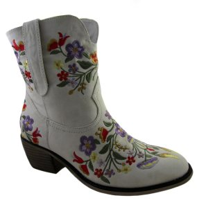 laudia Ghizzani Ladies White Embroidered Cowboy Boots