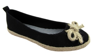 Odeon ladies black canvas hessian bow espadrille flat shoes 4