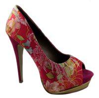 Timeless Ladies Orient Satin Floral Platform Shoes