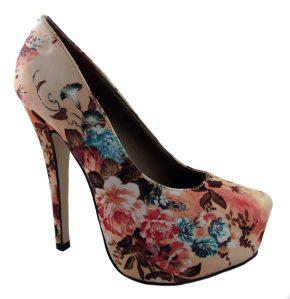 Dolcis ladies nude floral platform court shoes