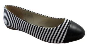 Qube Black White Striped Ballerina Shoes - £19.99