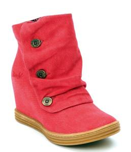 Blowfish Tabbit Red Sand Blasted Canvas Concealed Wedge Ankle Boots