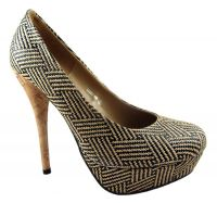 Anne Michelle Tribal Pattern Platform Court Shoes - £23.99