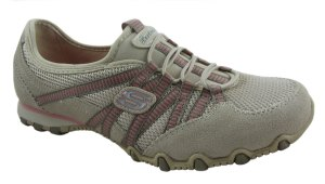 Skechers Womens Bikers Hot Ticket Natural/Taupe Trainers - £44.99