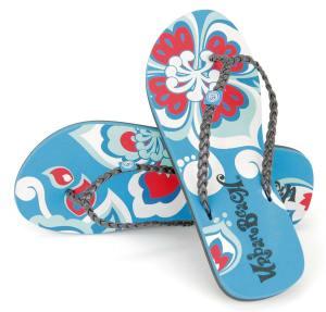 Urban Beach Nectar Retro Print Flip Flops Blue