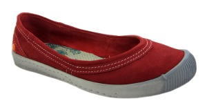 Softinos Womens Ines Red Suede Ballet Shoes