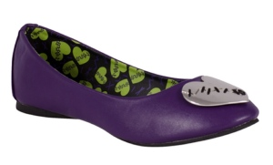 T.U.K Metal Stitched Heart Purple Ballet Flat Shoes