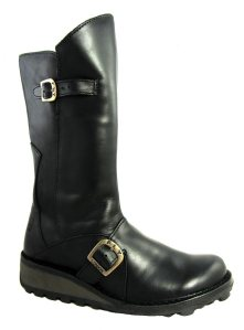 Fly London Mes Black Leather Wedge Heel Calf Boots - £114.99