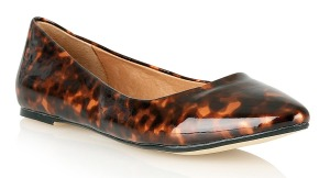 Ravel Mindy Pointed Toe Tortoise Shell Patent Flat Shoes - £44.99
