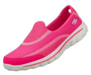 Skechers Go Walk 2 Hot Pink Slip On Trainers