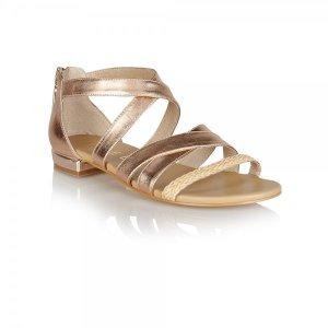 Ravel Balm Metallic Rose Gold Leather Sandals - £59.99