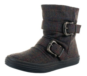 Blowfish Octave Brown Oxford Tweed Flat Ankle Boots - £49.99