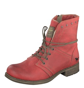 Mustang 1139-610 Women's Red Low Heel Lace Up Ankle Boots - £59.99