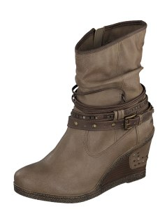 Mustang 1083-506 Women's Taupe Wedge Heel Ankle Boots - £69.99