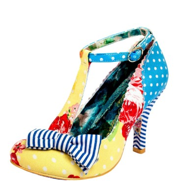 Irregular Choice Bloxy Yellow Blue Polka Dot Floral High Heel T Bar Shoes