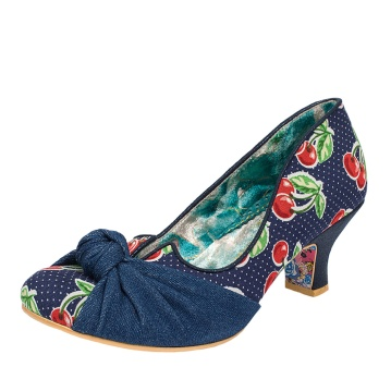 Irregular Choice Dazzle Pants Navy Blue Cherry Mid Heel Court Shoes