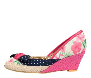 Poetic Licence Charmed Life Pink Blue Floral Peep Toe Wedge Shoes