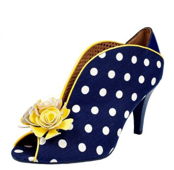Poetic Licence Rekindled Flame Navy White Polka Dot High Heel Shoes